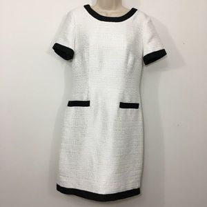 Karl Lagarfeld tweed career dress white black 8